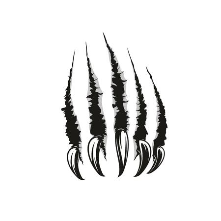 Krallenkratzer oder zerrissene Spuren von Wildtierpfoten. Vektor scharfe Nägel Schrägstriche oder Narben mit Schnittwunden und zerrissenen Fetzen. Gefährliches Monster- oder Tierangriffsthema, auch Tätowierungsentwurfsschablone Vektorgrafik