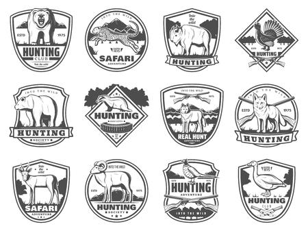 Iconos del club de caza de animales salvajes y aves, armas. Caza en temporada abierta. Vector conjunto de balas de rifle y trampas, oso y tejón, pantera y búfalo de guepardo de safari africano, lobo y gacela, faisán y pato