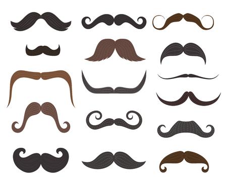 Style de moustaches, salon de coiffure ou barbier. Icônes isolées de vecteur de types de moustache classiques longs et courts rétro et modernes et hipster ou bûcheron de différentes couleurs Vecteurs