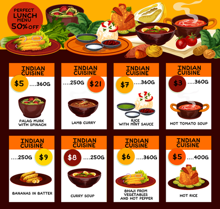 Indian cuisine traditional food menu. Vector lunch of palag murk with spinach, lamb curry or rice in mint sauce, hot tomato soup with bananas in butter and bhaji vegetables with pepper