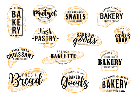 Bakery bread or pastry sketch lettering, baker shop or patisserie. Vector calligraphy of pretzel bagel, sweet cake and croissant desserts, rye baguette or chocolate pie and loaf