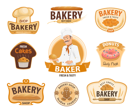 Bakery or baker shop and patisserie icons. Vector isolated baker man in chef hat with wheat bread, bagel or croissant and bun, sweet chocolate donut or cupcake and gingerbread biscuit 일러스트