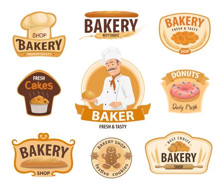Piekarnia lub piekarnia i cukiernia ikony. Wektor na białym tle piekarz w kapeluszu szefa kuchni z chlebem pszennym, bajgiel lub rogalik i bułka, słodki pączek z czekoladą lub ciastko i ciastko