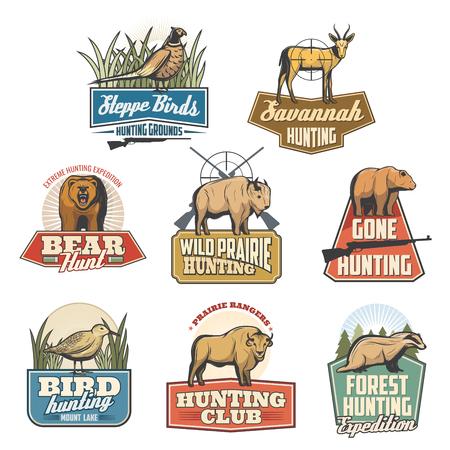 Animali e uccelli che cacciano le icone dello sport, la stagione aperta o l'avventura del safari del cacciatore. Insieme di vettore del bersaglio della pistola del fucile e del fagiano, del tasso, della gazzella africana o dell'antilope e dell'orso grizzly, del bue del bufalo e della beccaccia