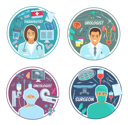 Urologist, surgeon or oncologist and therapist doctors staff. Vector medicine urology, surgery or oncology and therapy treatment, stethoscope, syringe and cancer pills, X-ray