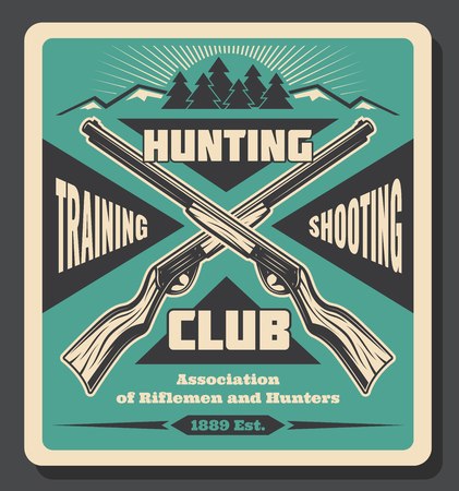 Hunting club retro poster, hunt open season or training for hunter shooting. Vector vintage design of crossed rifle guns or carbines and forest with wild animals and hunt trophy
