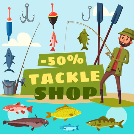 Fisher shop advertisement, fishing tackles offer. Vector cartoon design of fisher man with rods, baits and bookers or fish catch on hook with trout or pike and salmon