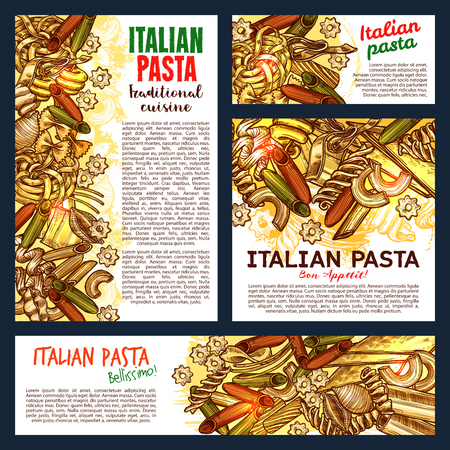 Schizzo di pasta italiana, cucina italiana o disegno del menu del ristorante di pasta. Poster vettoriali e striscioni di spaghetti tradizionali, fettuccine o tagliatelle e farfalle, pappardelle e lasagne, ravioli Vettoriali