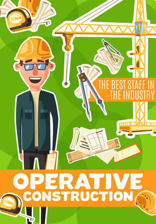 Engineer profession, construction and building industry design. Construction engineer or architect with architectural drawings, building plan and hard hat, ruler, compasses and tape measure