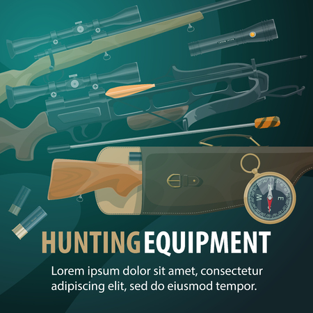 Hunting sport equipment, hunter ammunition and weapon. Rifle gun, shotgun and compass, crossbow, cartridge and flashlight. Hunter and tourist items store, vector illustration Çizim