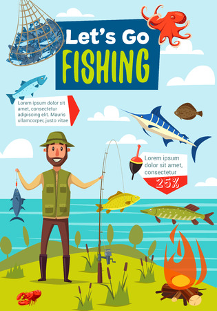 Lets go fishing poster, fishing sport theme design. Fisherman standing on river bank with fishing rod, fish catch and net, tackle, float and bait, salmon, marlin and pike. Vector cartoon illustration Ilustração