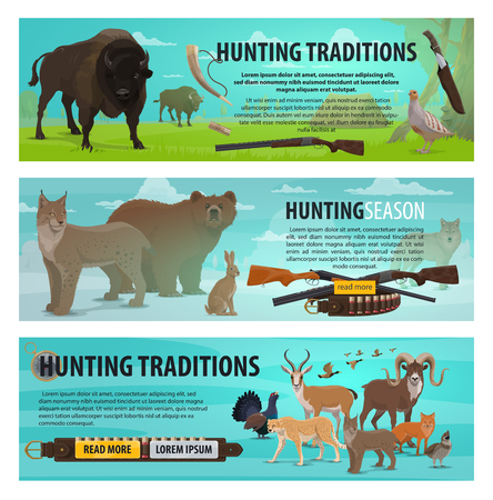 Hunting sport, animals and birds. Bear, wolf and duck, african jaguar, lynx and fox, bison, hare and antelope, grouse, quail and pheasant, hunter rifle, shotgun and knife items in vector Illustration