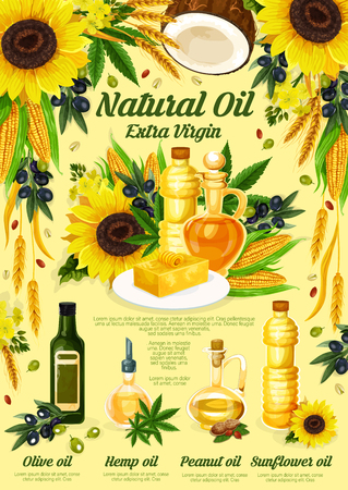 Natural oil from olive, sunflower, peanut and hemp plant. Extra virgin oil product with bottles, vegetable, fruit, flower and nut ingredients. Vector illustration