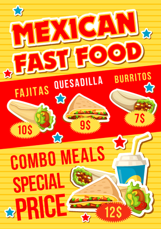 Fast food restaurant menu with mexican snack and drink combo meal. Meat burrito, fajitas, quesadilla and soda beverage poster with price layout. Fastfood cafe vector design