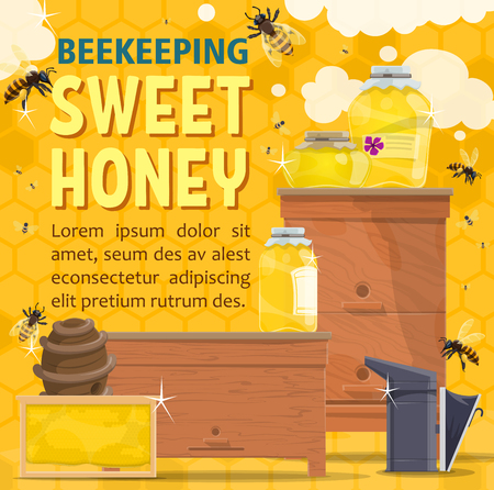 Sweet honey, beekeeping farm product and organic dessert. Bees flying around beehive with jar of natural honey, honeycomb frame and apiary smoker banner. Apiculture theme vector illustration Foto de archivo - 109850772