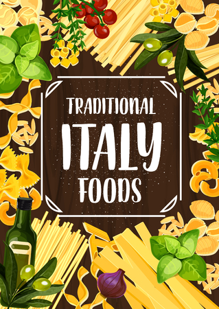 Italian pasta and macaroni, tomato, olive oil and basil on wooden background. Spaghetti, penne and fusilli, farfalle, fettuccine and rigatoni, linguini, conchiglie and lasagna vector illustration