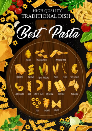 Vector iltalian pasta with spaghetti, penne and farfalle, fusilli, fettuccine and tagliatelle nest, cannelloni, lasagna and conchiglie on wooden cutting board, framed by tomato and herbs