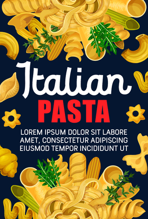 Italian pasta and macaroni, traditional food of mediterranean cuisine. Spaghetti, penne and farfalle, fusilli, rigatoni and cannelloni, fettuccine, conchiglie and linguini banner design