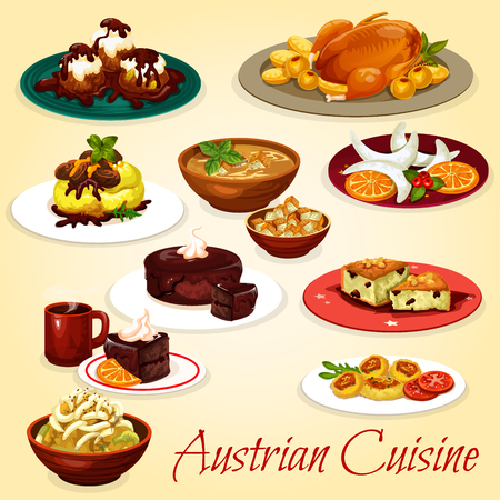 Austrian cuisine dishes with baked goose, potato noodle with cabbage stew, beer soup with crouton, cheese dumpling and chocolate cake dessert, nuts cookie, beef stew and vanilla pastry