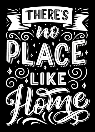 There is no place like home hand drawn lettering quote. Inspiration and positive calligraphic black and white poster, decorated with ribbon banner. Vector illustration Illustration