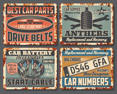Car repair and garage mechanic service old metal signboards, rusty texture. Auto parts, automobile battery accessory and car numbers, drive belt, wrench and spanner retro signs. Vector design Illustration