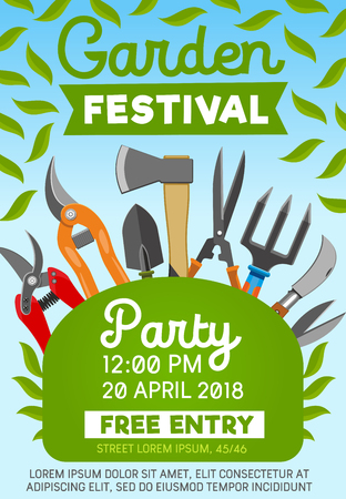 Garden festival invitation with gardening tools and green leaves. Vector shovel, fork and rake, scissors, axe and secateurs work equipment. Gardening, farming, agriculture and landscaping theme