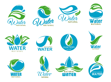 Natural water symbols with clean aqua drops and bio green leaves. Eco nature resource isolated vector icons of blue water droplets, waves and splashes. Healthy drink label and ecology theme design