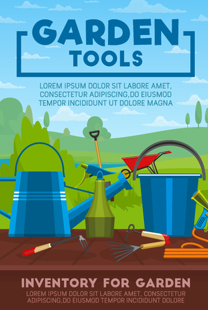 Gardening tools, work equipment and items. Spade, rake and fork, shovel, watering can and hose, wheelbarrow, bucket and spray bottle with green nature grass field on background. Vector illustration Illustration