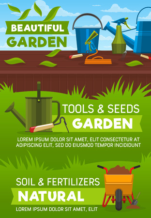 Gardening tools and equipment, garden shop vector design. Shovel, spade and fork, watering can, hose and bucket, wheelbarrow, rake and spray bottle on lawn green grass lawn
