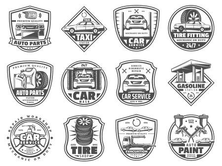 Odznaki serwis samochodowy, ikony retro wektorowe. Sklep z częściami samochodowymi i oponami, myjnia samochodowa, ewakuacja i serwis lakierniczy, wymiana oleju silnikowego i akumulatora, projekt wektora warsztatu warsztatowego i warsztatowego