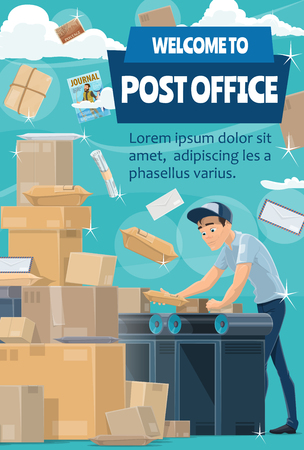 Welcome to post office poster. Mail delivery service. Postman or mailman with letter, parcel and package, postal box, envelope and correspondence, newspaper and journal. Vector illustration Illustration