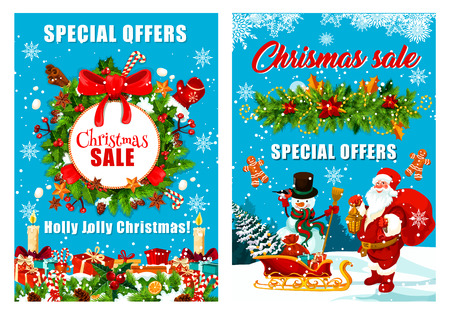Santa and snowman with gifts bag at Christmas tree on blue background. Christmas sale and special season discount offer poster for winter holiday shopping. Vector design of Xmas ornament decorations