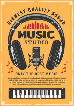 Music and sound recording studio. Vintage microphone, headphones and piano old scratches banner, decorated with musical notes and sound equalizer. Vector retro illustration
