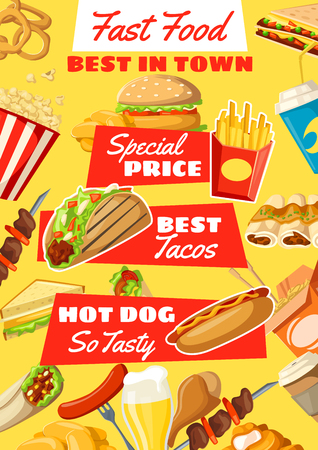 Fast food menu with lunch dishes. Hamburger, hot dog and cheese sandwich, chicken nuggets, fries and soda, coffee, popcorn and taco. Fastfood cafe and restaurant vector design