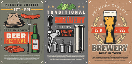 Vector beer alcohol drink in mug, bottle or can, tap and sausage on fork. Beer brewery and Oktoberfest German traditional beer festival. Hat and hop, laurel wreath vintage posters