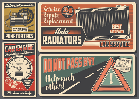 Car service signboards, garage and auto mechanic workshop vector design. Diagnostic, repair and replacement of vehicle engine, auto radiators and tire with automobile parts