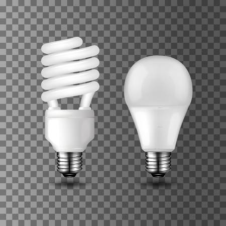 Energy saving realistic vector light bulbs on transparent background. Compact fluorescent light bulb and light emitting diode LED. Energy saving and ecology themes design
