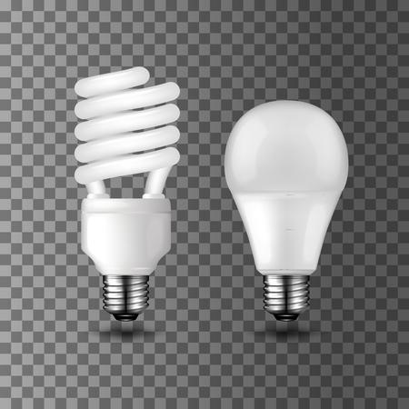 Energooszczędne realistyczne żarówki wektorowe na przezroczystym tle. Kompaktowa żarówka fluorescencyjna i dioda elektroluminescencyjna LED. Projektowanie motywów oszczędzania energii i ekologii Ilustracje wektorowe