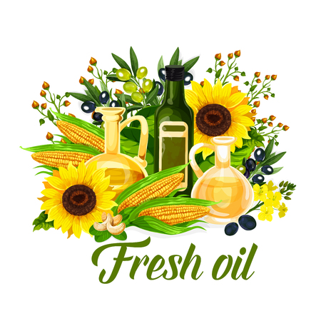 Oil bottle with natural vegetable ingredients. Black and green olive fruit, corn and sunflower, colza, nuts and peanut kernel. Food package or agriculture theme design