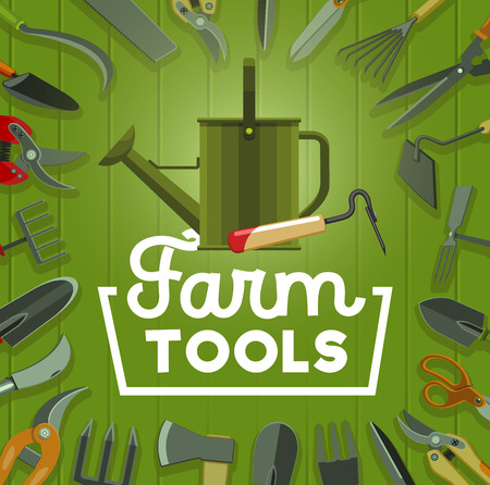 Farm tools, farming and agriculture vector theme design. Gardener equipment with frame border of shovel, rake and watering can, spade, fork and pitchfork, scissors, axe and saw