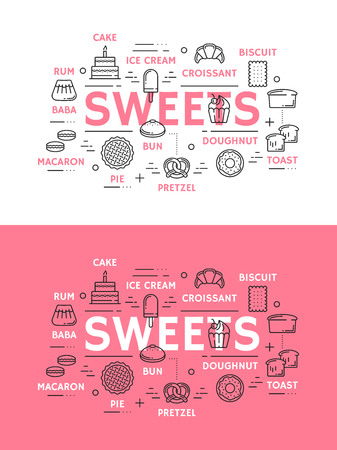 Sweets with pastry, bakery and ice cream desserts. Cake, bread and croissant, cupcake, donut and ice cream, bun, pie and cookie, toast, macaron and pretzel thin line.Vector illustration