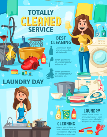 Servicio de limpieza y quehaceres domésticos, enseres domésticos y útiles de trabajo. Cepillo, fregona y spray de detergente, esponja, balde, aspiradora y lavadora para el diseño de carteles de las tareas domésticas