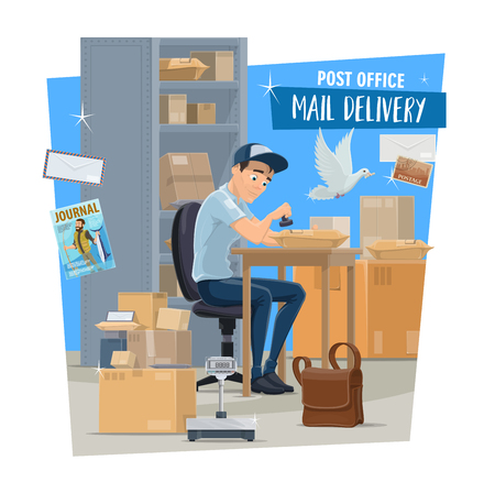 Mail delivery service, postman at post office. Postal worker or mailman sitting at table with parcel, letter and envelope, box, postage stamp and packages, correspondence and magazine