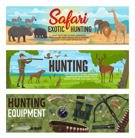 Hunting sport, hunter equipment, african safari and forest animals. Huntsman hunting to duck, deer and hare, elephant, lion and giraffe. Rifle, weapon and compass, knife and binoculars. Vector design Ilustração