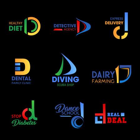 Bedrijfsidentiteitspictogrammen met letter D. Voedsel, gezondheid en medicijnen, sport, bezorging en merkontwerp van landbouwbedrijven. Moderne huisstijl, zakelijke en embleem vector sjablonen Vector Illustratie