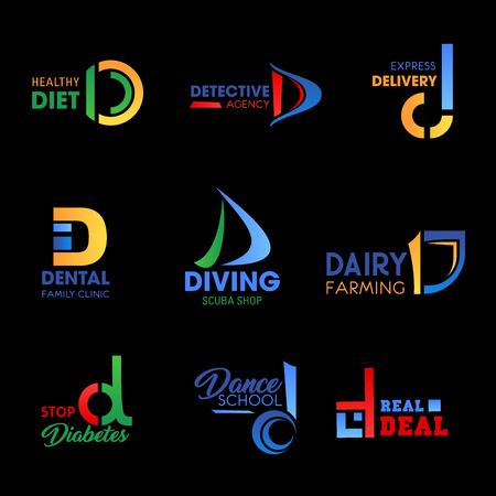 Business identity icons with letter D. Food, health and medicine, sport, delivery and farming company branding design. Modern corporate identity, business and emblem vector templates