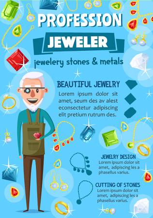 Jeweler profession, jewelry and gems. Goldsmith with diamond and tools, jewel, precious stones and luxury jewellery, gold ring, necklace and pearl earrings, brilliant and bracelet. Cartoon vector Illustration