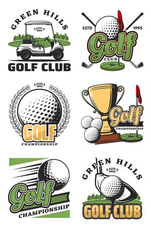 Golf sport kampioenschap vintage pictogrammen en symbolen. Golfbal, club en tee, vlag, groen veld en hole, kar en kampioen trofee beker objecten. Vector kleur sport pictogrammen