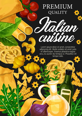 Italian cuisine pasta. Spaghetti, fusilli and farfalle, olive oil, tomato and herbs, cannelloni, fettuccine, lasagna and conchiglie. Vector illustration Illustration