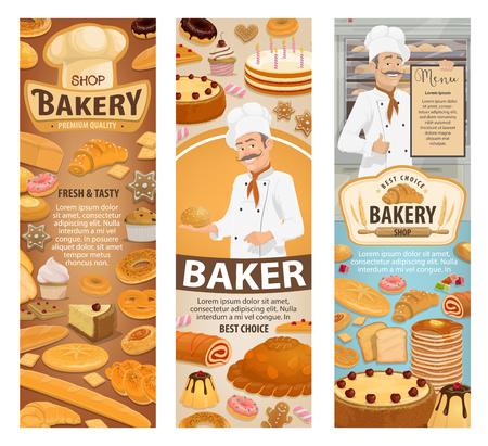 Bakery shop, baker and pastries. Bread, baguette and croissant, cake, cupcake and donut, pie, bun and pastry chef with menu, baker hat and rolling pin. Cafe or confectionery theme